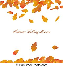 Vector Autumn Frame With Falling Maple Leaves on White Background. Seasonal decoration Design with