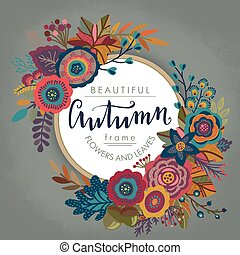 Vector autumn frame with lettering and place for text.