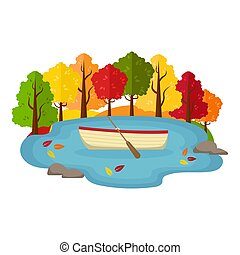 Vector autumn landscape. Boat in a pond in the autumn forest.
