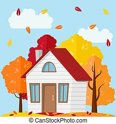 Vector autumn landscape. Country house in the autumn forest.