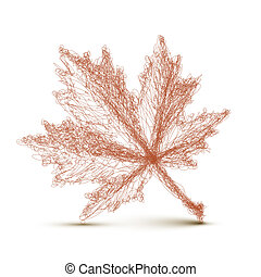 Vector autumn leaf - continuous line drawing