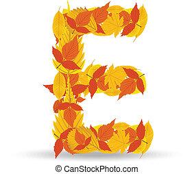 Vector autumn leaves font, letter E - Letter from autumn...