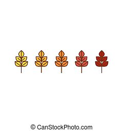 Vector autumn leaves icons background in yellow and red