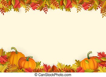 Vector autumn leaves, pumpkin frame