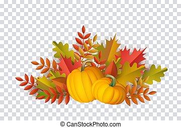 Vector autumn leaves, pumpkin pattern