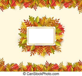 Vector autumn leaves square frame