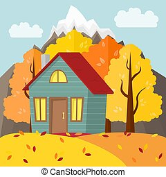 Vector autumn mountain landscape. Country house in the autumn forest.