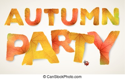 Vector Autumn Party words, made from autumn leaves