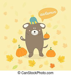 Vector autumn scene with a cartoon dog