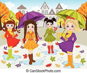 Vector Autumn Set with Beautiful Girls
