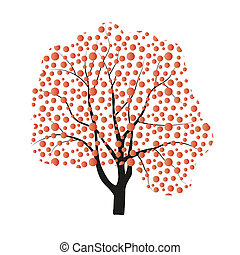 Vector autumn tree drawing