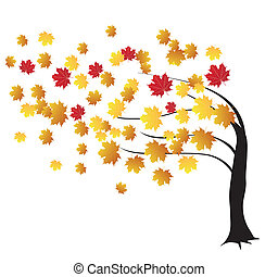 vector autumn tree in the wind