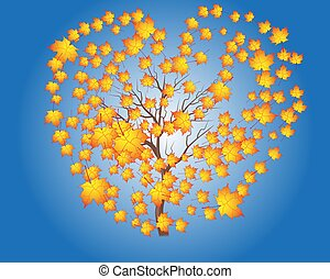 Vector autumn tree maple leaves against the blue bright sky
