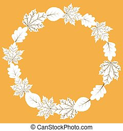 Vector autumn wreath frame with leaves