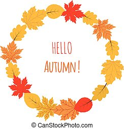 Vector autumn wreath with yellow and red leaves