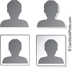 vector, avatar, iconos, botones, -, humano, usuario, miembro