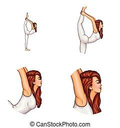 Vector avatar of girl does gymnastics, yoga