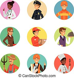 Vector avatars set with different professions