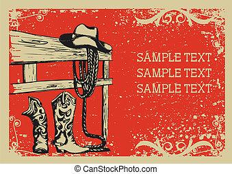 .vector, avbild, bakgrund, elementara, liv, grunge, cowboy's, text, grafisk