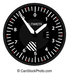 vector aviation altimeter isolated on white background in flat style