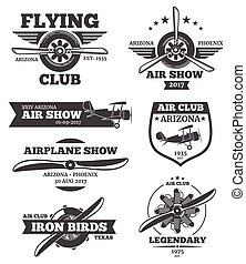 Vector aviation badges, avia club emblems, airplane logos set