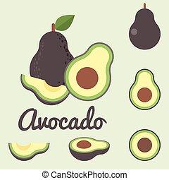 Vector avocado, flat design
