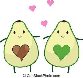 avocado - vector avocados hearts