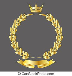 Vector award gold crown and ribbon banner with gold laurel wreath