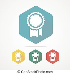 Vector Award Icon flat style with long shadow.