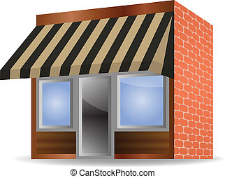 vector awning - vector illustration of Store Front Awning on...