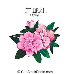 Azalea vignette. Vector floral design isolated on white background