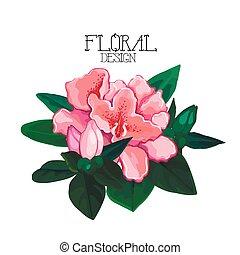 Vector azalea vignette - Azalea vignette. Vector floral...
