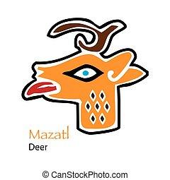 Aztec Calendar Mazatl-Deer Icon - Vector Aztec Calendar...