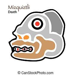 Aztec Calendar Miquiztli-Death Icon - Vector Aztec Calendar...