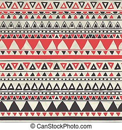 Abstract Artistic Hand Sketched Aztec Tribal Seamless Red and Grey Background Pattern on Crumpled Paper Texture. Vector Illustration with Pattern Swatches