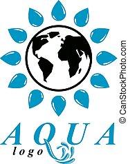 vector, azul, agua clara, gota, símbolo, para, uso, en, agua mineral, advertising., cuerpo, limpieza, concept.