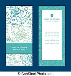 vector, azul, arte de línea, flores, vertical, marco, patrón, invitación, tarjetas de felicitación, conjunto