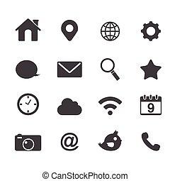 vector, básico, aplicación, iconos de la tela