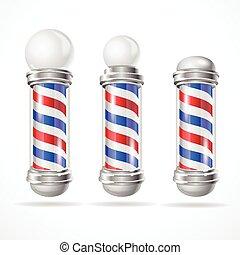 Vector baber shop pole set - Vector illustration classic...
