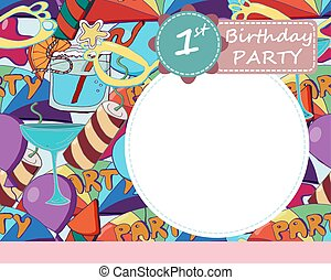 Vector baby 1-th Birthday party greeting card.  Colorful brightly cute background with baloons, fireworks and stars.