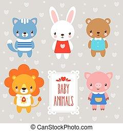 Vector baby animals.