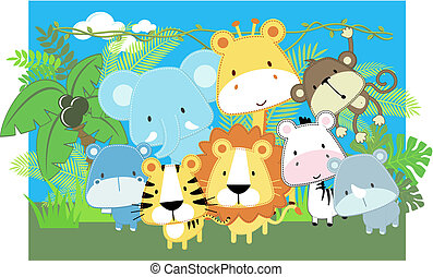 vector baby animals safari - vector illustration of cute ...