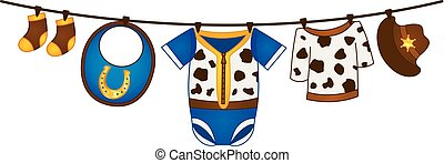 Vector Baby Boy Clothes in Cowboy Style Hanging on the Line