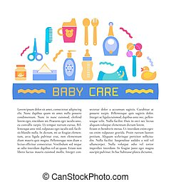 Vector baby care and baby products