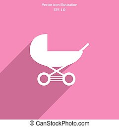 Vector baby carriage flat icon illustration.