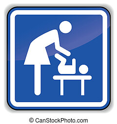 Vector baby changing icon - Vector illustration of baby...