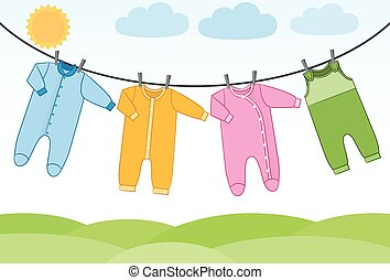 Vector baby clothes on clothesline.