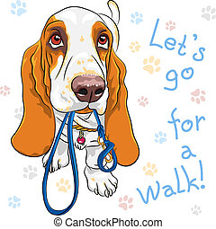 vector baby dog Basset Hound breed - Tan and White dog...