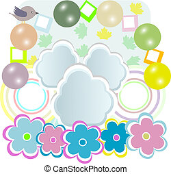 Vector baby girl card with scrapbook elements