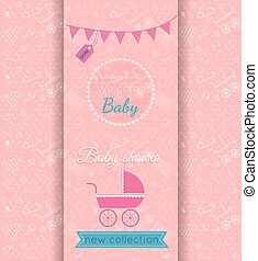 Vector baby girl pink card